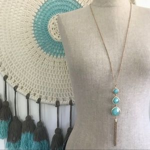 Jewelry - Faux Turquoise Gold Tone Tassel Pendant Necklace